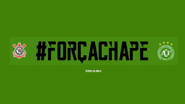 Corinthians deixa a tradição de lado e veste site de verde em homenagem à Chapecoense 2
