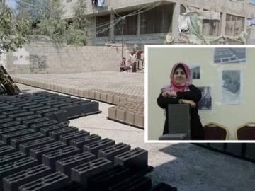 Engenheiras transformam escombros de guerra em tijolos para reconstruir casas em Gaza 4