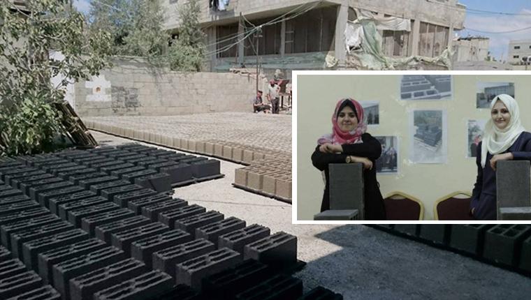 Engenheiras transformam escombros de guerra em tijolos para reconstruir casas em Gaza 1