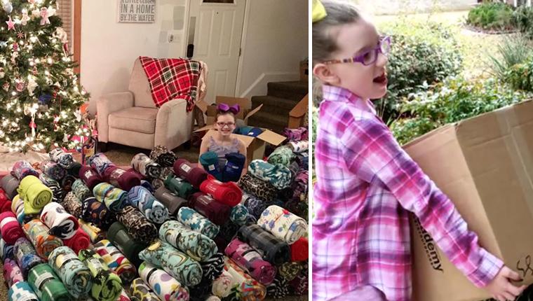 Menina de 9 anos coleta centenas de cobertores para manter crianças aquecidas no inverno 9