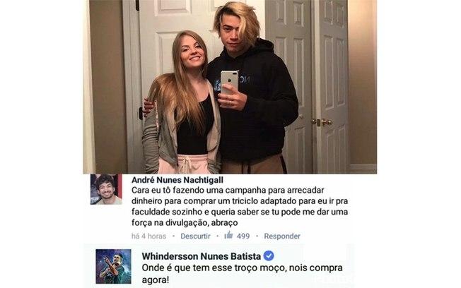 Jovem faz pedido para Windersson Nunes, que o responde disposto a ajudá-lo