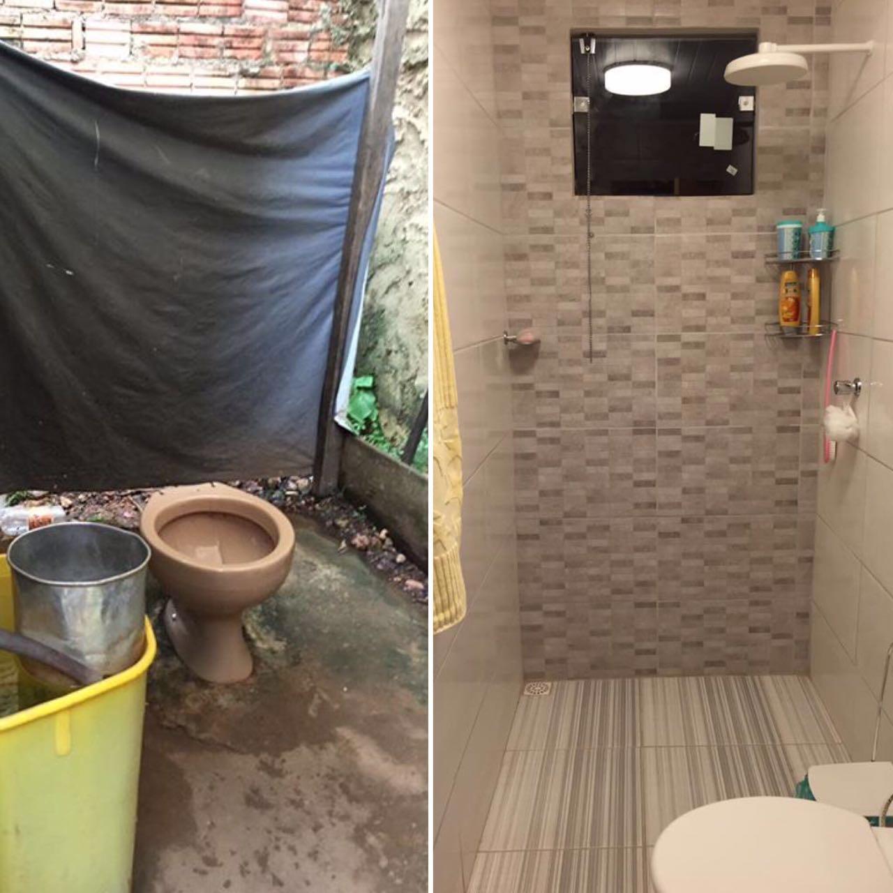 estudantes fizeram um banheiro para a aposentada