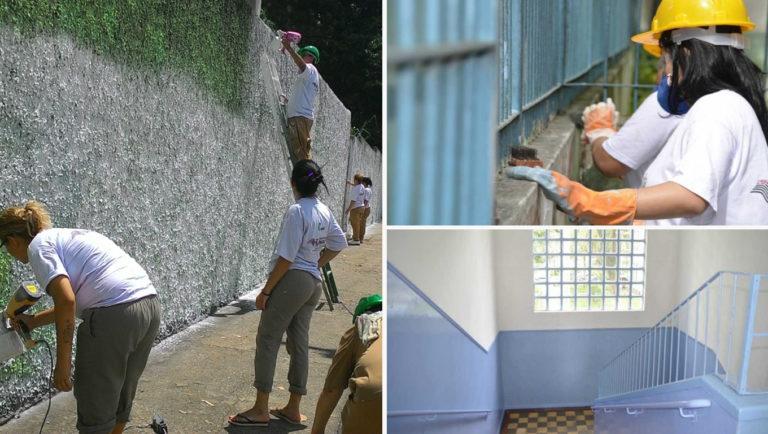 detentas reformam muro da escola