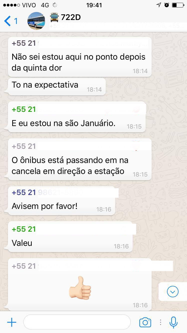 as pessoas do grupo no Whatsapp conversam entre si