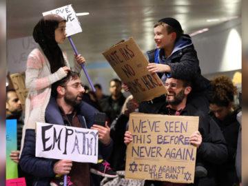 empatia durante protesto Trump