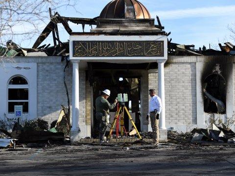 Foto do que sobrou da mesquita