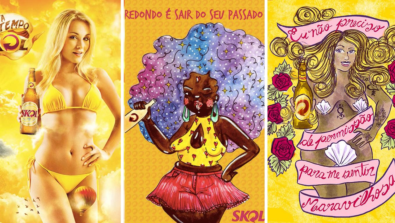 Skol convida ilustradoras para recriarem pôsteres machistas da marca 1