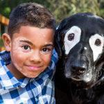 menino e cão com vitiligo