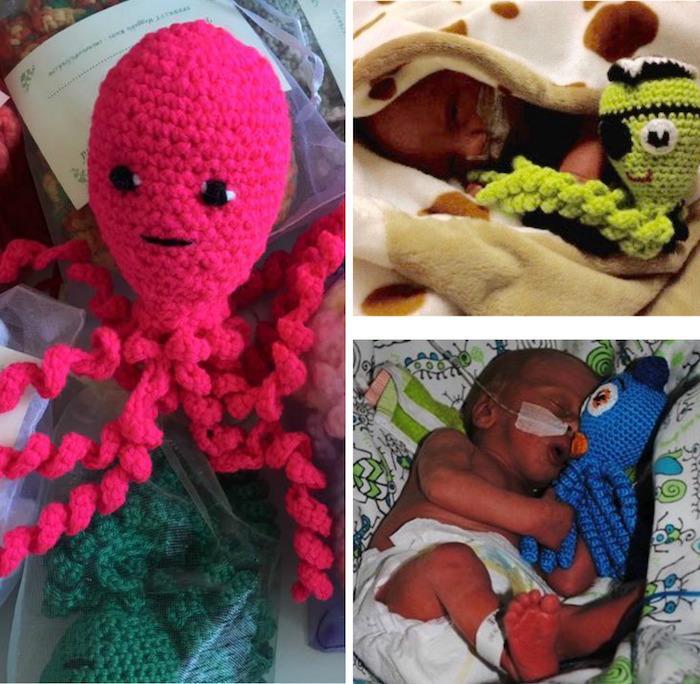 Polvos feitos de crochê tranquilizam bebês prematuros