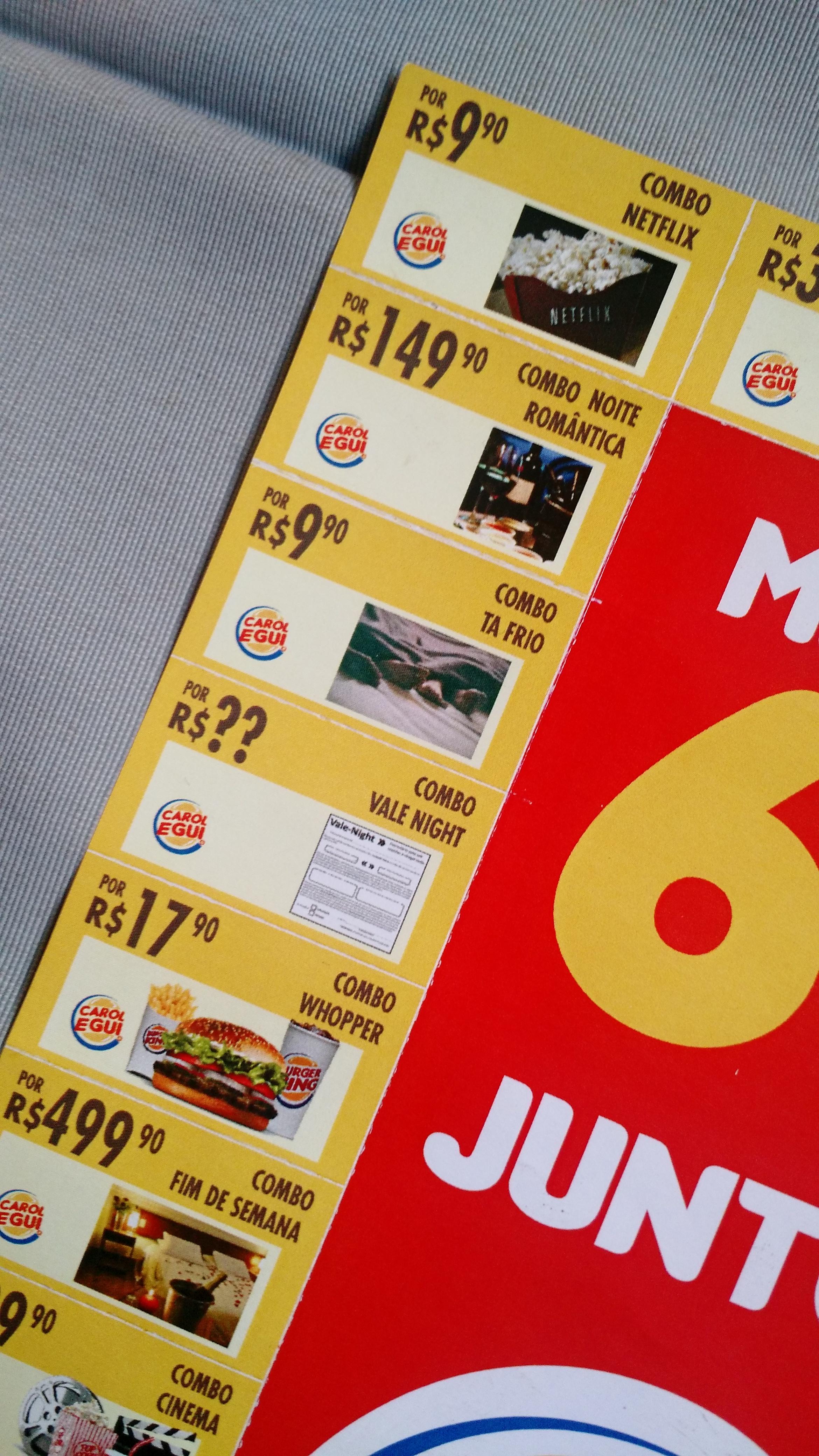 Amado Jovem faz pedido de namoro com cartela do Burger King AX03