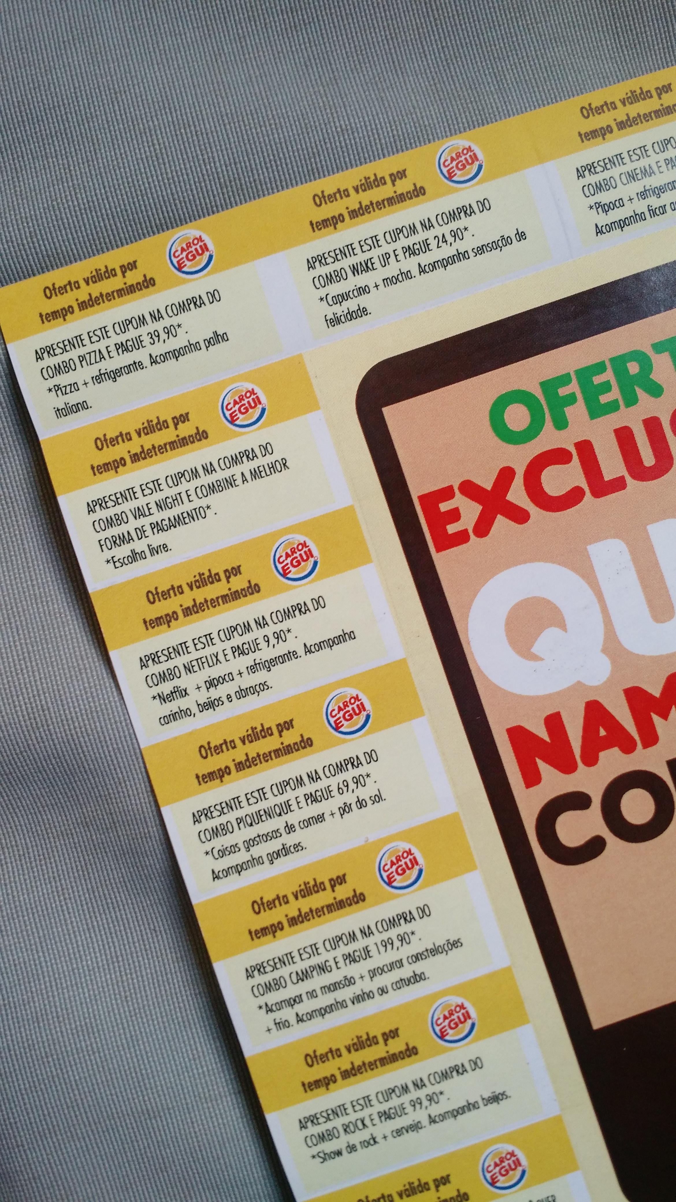 Super Jovem faz pedido de namoro com cartela do Burger King BJ42