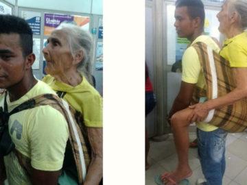 carrega idosa nas costas