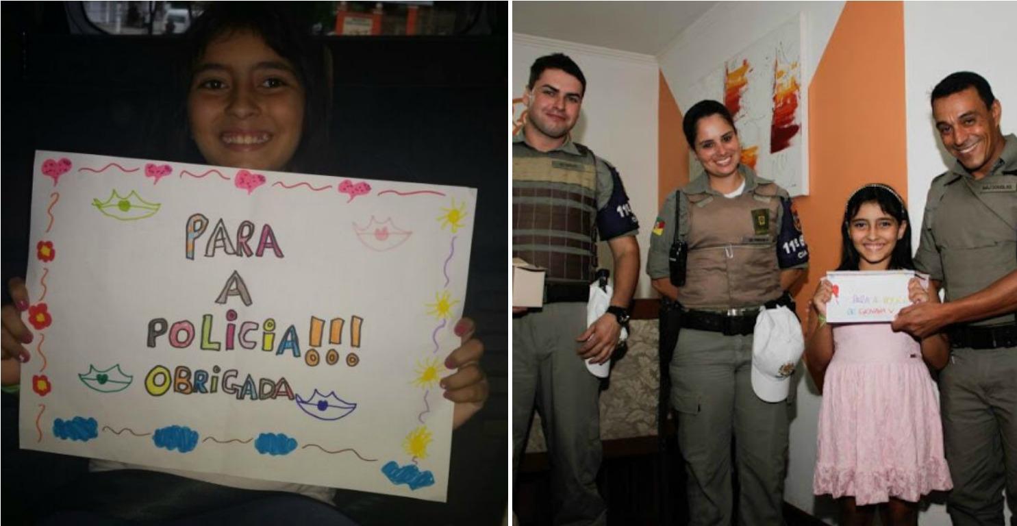 Giovana fez cartazes de agradecimento