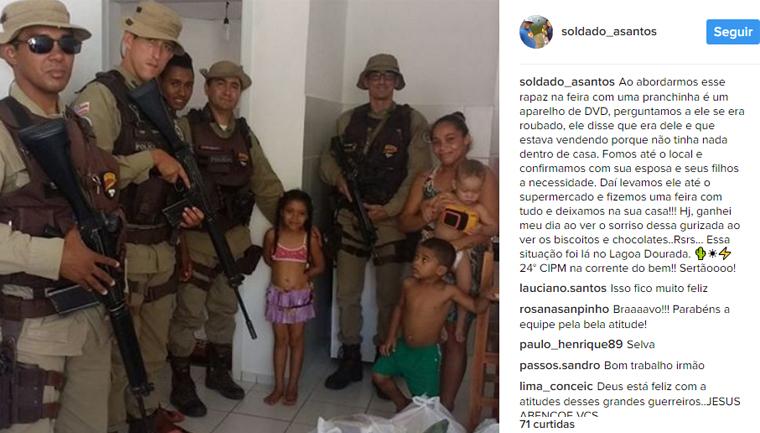 Após abordagem, policiais fazem vaquinha e doam alimentos para família na Bahia 3