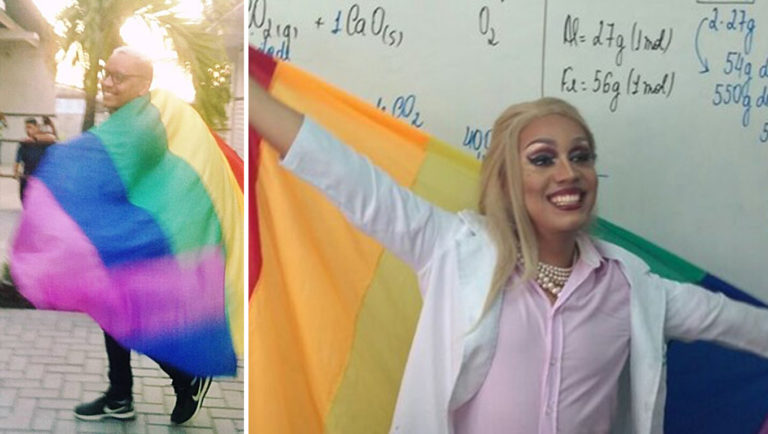 professor vai montado de drag