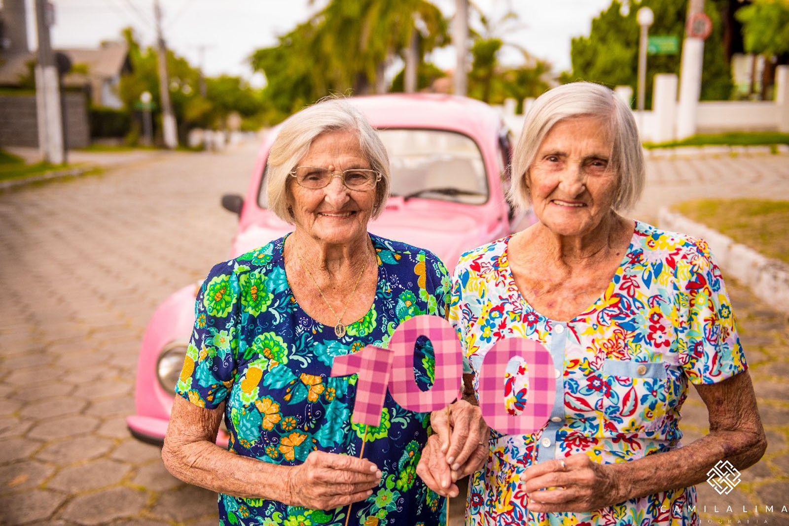 aniversário gêmeas 100 anos