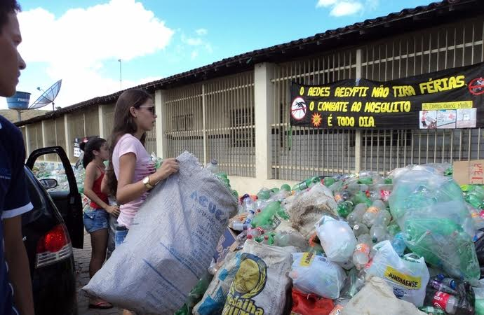 Estudantes retiram quase uma tonelada de garrafas PET da natureza numa ação de combate à dengue 1
