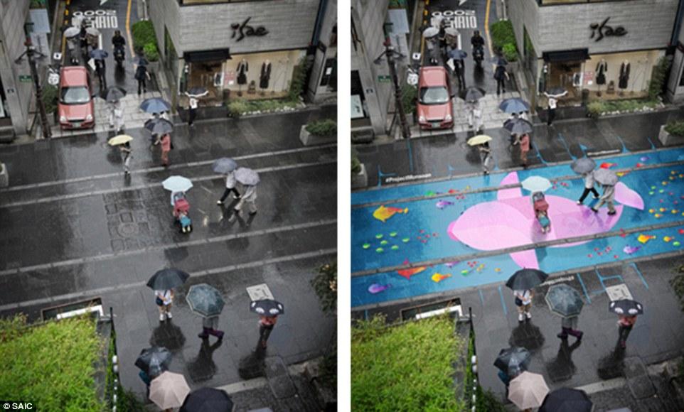 Desenhos incríveis aparecem somente quando há chuva, nessas ruas da Coreia do Sul 2