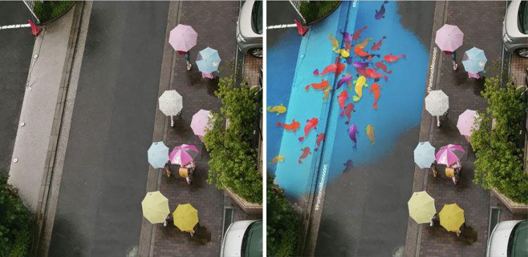 Desenhos incríveis aparecem somente quando há chuva, nessas ruas da Coreia do Sul 3