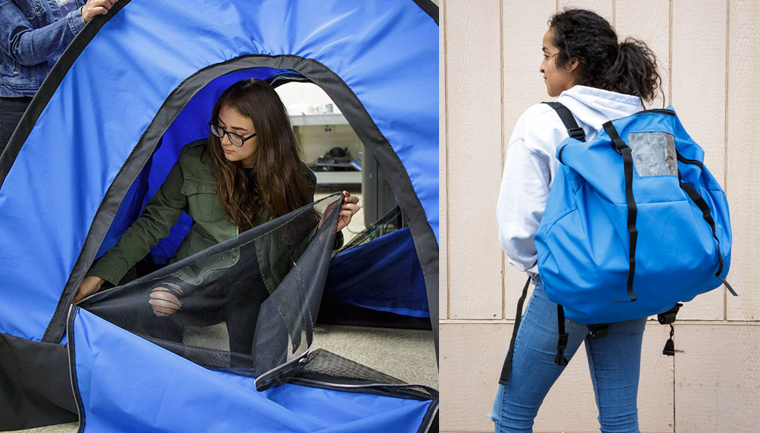 Jovens de baixa renda criam barraca-mochila para moradores em situação de rua 1