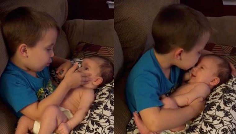 """Vídeo de garotinho cantando """"You are so beautiful"""" para irmãzinha bebê encanta a internet 1"""