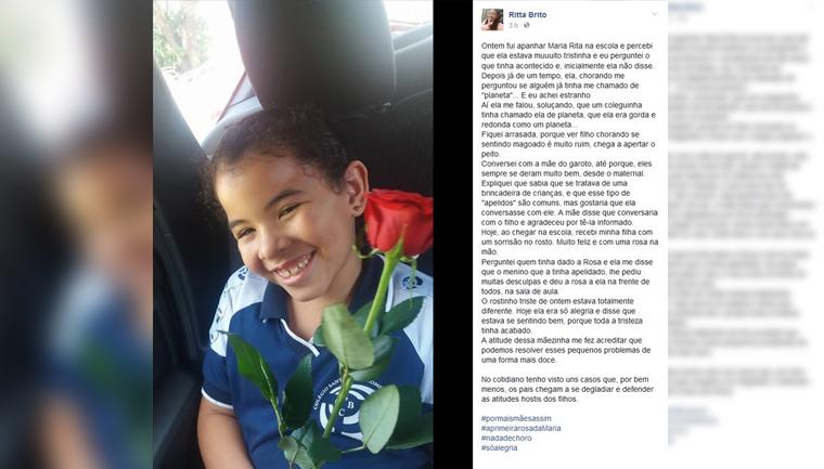 Após ser apelidada na escola, menina de 7 anos ganha rosas como pedido de desculpas 1
