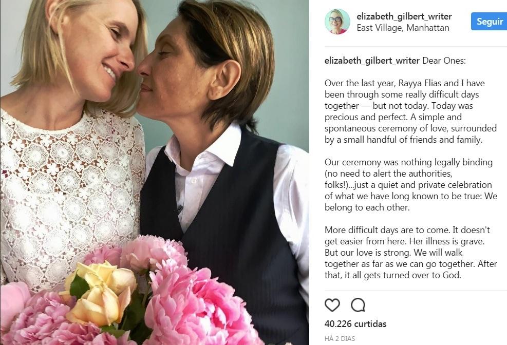 Autora de 'Comer, Rezar e Amar' se casa com namorada que tem câncer terminal e vai te emocionar 2