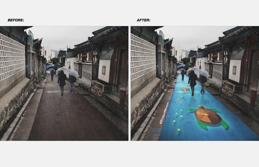Desenhos incríveis aparecem somente quando há chuva, nessas ruas da Coreia do Sul 4