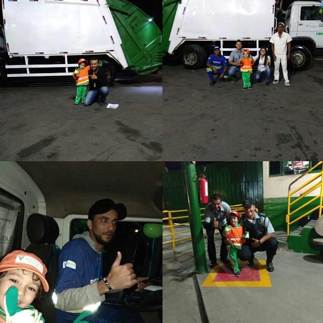 Menino tem dia dos sonhos com seus amigos coletores de lixo 3