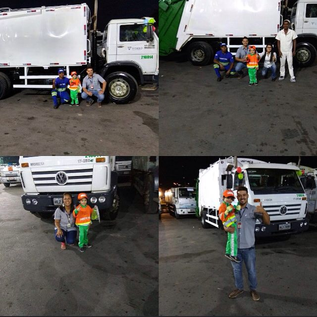 Menino tem dia dos sonhos com seus amigos coletores de lixo 4