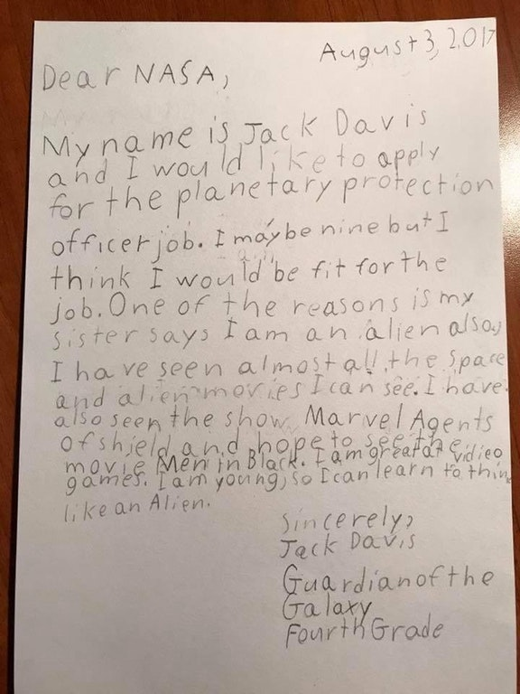 Menino de 9 anos se inscreve para ser 'protetor da Terra' e NASA responde 1