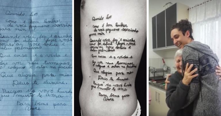 Neto Tatua Carta Linda De Sua Avó Com Alzheimer