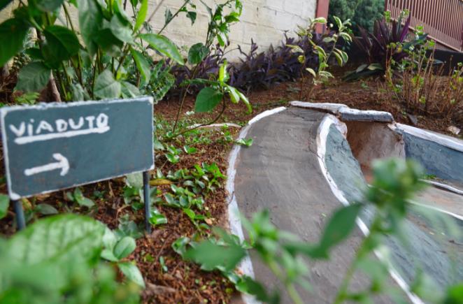 Morador do Paraná transforma jardim em miniatura de trânsito para presentear sobrinhos 2