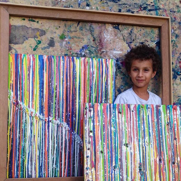 Brasileiro de 6 anos impressiona com arte abstrata e doa valor de tela para hospital infantil 1