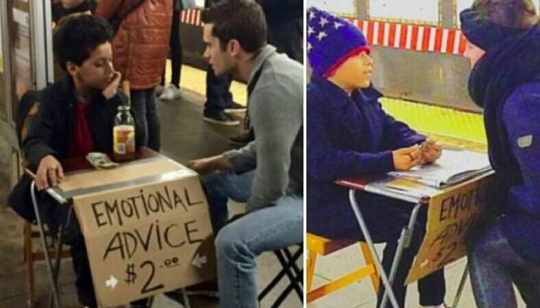 Menino de 11 anos vende conselhos no metrô de Nova York por 2 dólares 1
