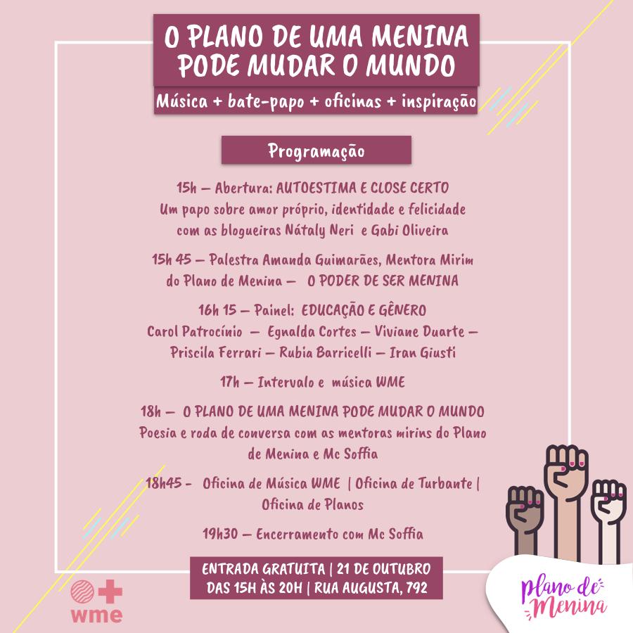 No Dia Internacional da Menina, projeto prepara evento com participação de youtubers e show da Mc Soffia 9