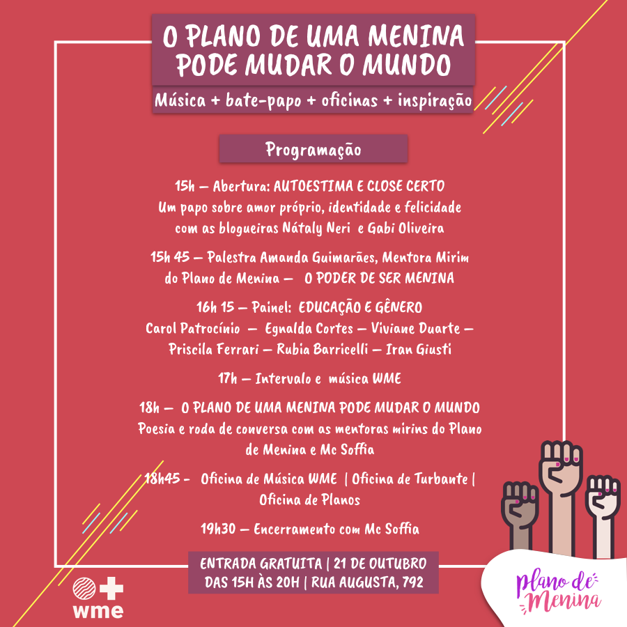 No Dia Internacional da Menina, projeto prepara evento com participação de youtubers e show da Mc Soffia 10