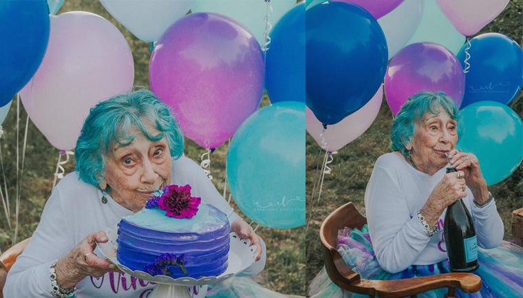 Senhora celebra aniversário de 98 anos como uma criança que completa 7 10