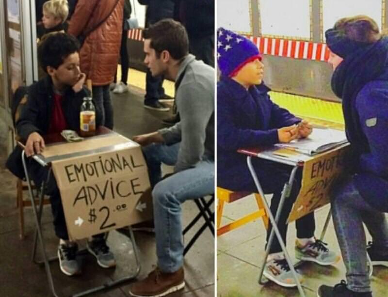 Menino de 11 anos vende conselhos no metrô de Nova York por 2 dólares 4