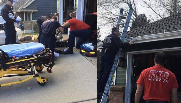 Bombeiros terminam de colocar luzes de Natal na casa de pai que quebrou a perna após cair da escada 3