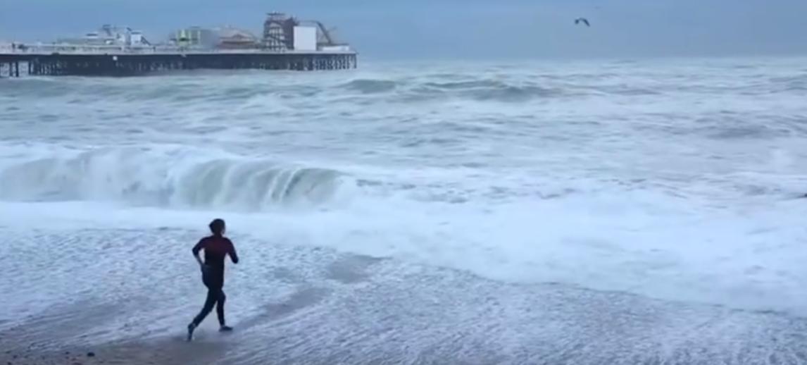 Mulher mergulha de roupa no mar gelado para salvar cachorro que estava se afogando 1