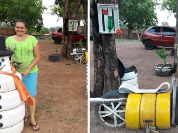 Senhora transforma terreno abandonado em incrível parquinho em Palmas 17