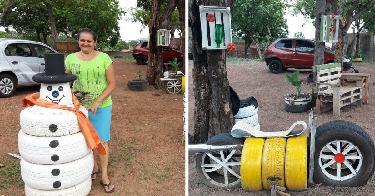 Senhora transforma terreno abandonado em incrível parquinho em Palmas 1