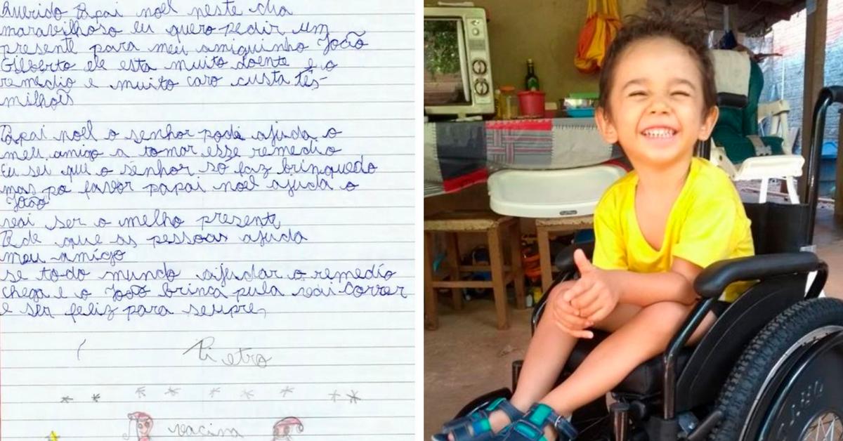 Garoto de 7 anos manda carta ao Papai Noel pedindo dinheiro para remédio de amigo 1