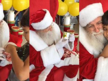 Criança dá presente para Papai Noel que se emociona com a surpresa 2
