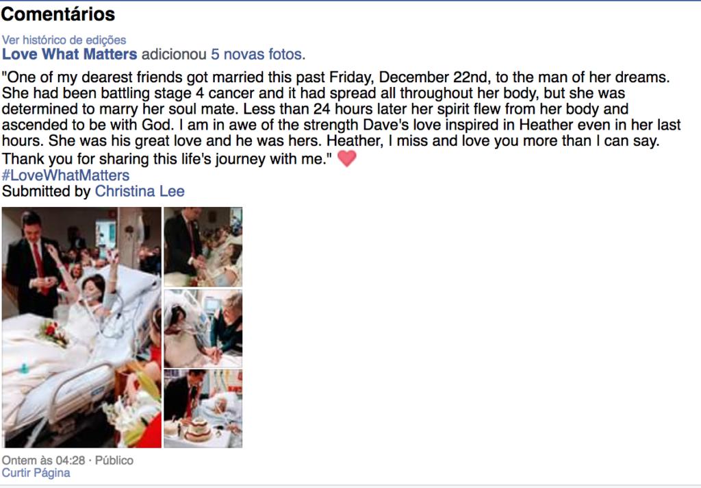 Mulher com câncer em estágio terminal casa com o amor de sua vida e morre 24 horas depois 1