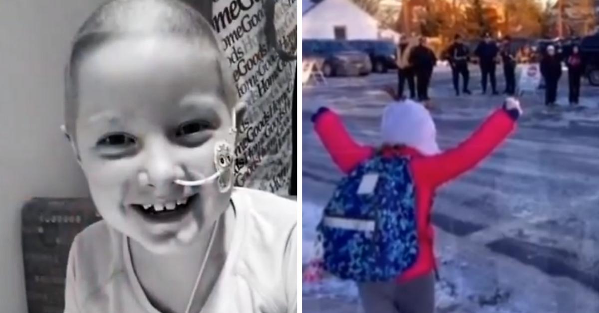 Depois de 15 meses no hospital, garotinha curada de câncer tem recepção calorosa na escola 1