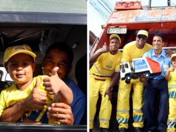 Garotinho de quatro anos ganha festa do caminhão de lixo 7