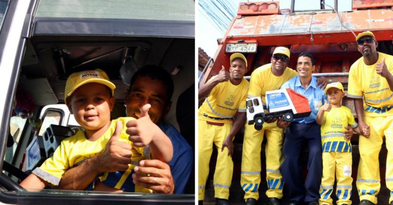 Garotinho de quatro anos ganha festa do caminhão de lixo 1