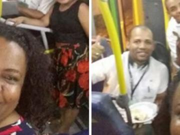 Para acompanhar o pai, família comemora o réveillon dentro do ônibus 1